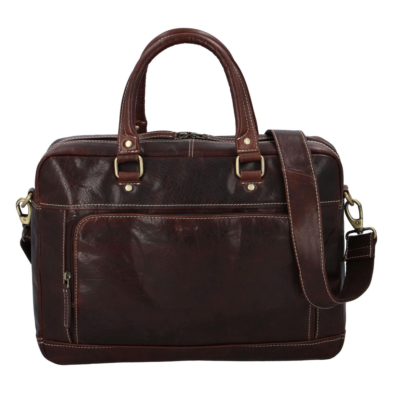 Pánska kožená taška hladká coffee - Diviley Lenox