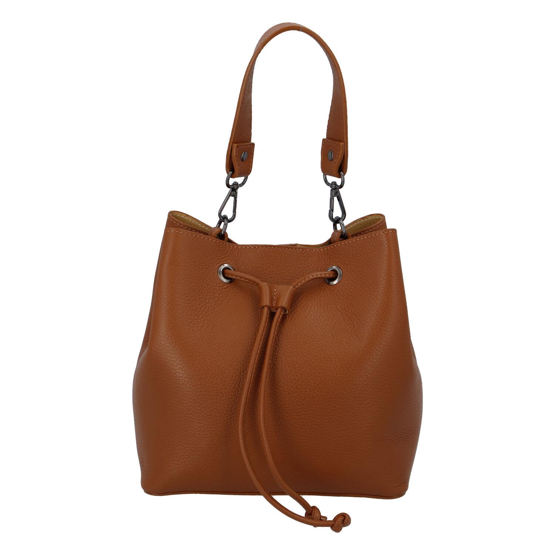 Dámska kožená kabelka svetlohnedá - ItalY TianJin