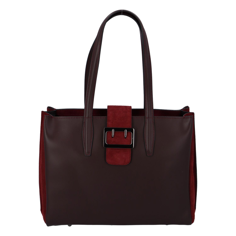Dámska kožená kabelka cez plece bordó - ItalY Driada