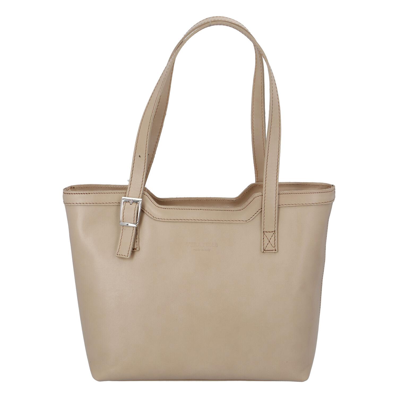 Tmavobéžová elegantná kožená kabelka ItalY Melisa