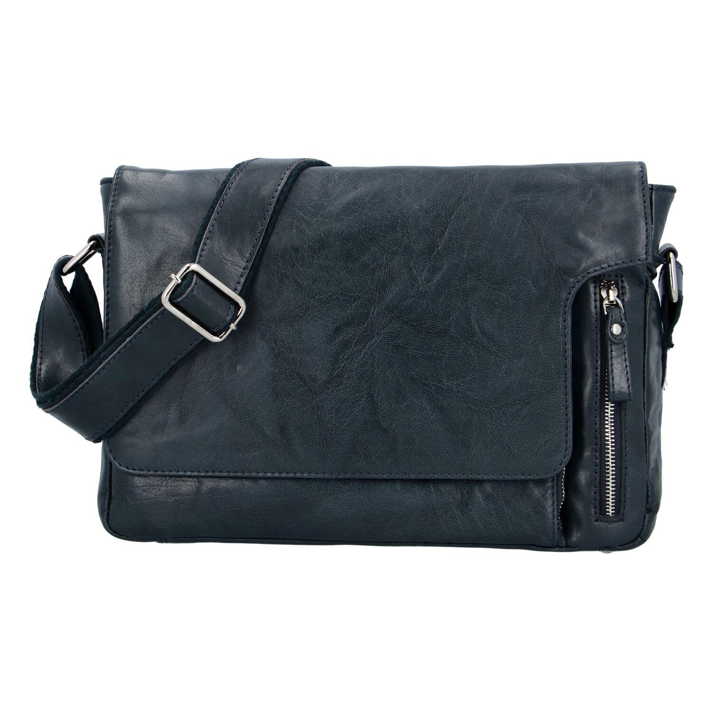 Luxusná kožená taška cez plece tmavomodrá - Tomas Kygo
