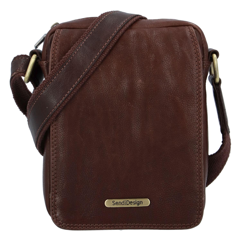 Pánska kožená taška na doklady cez plece hnedá - SendiDesign Dumont New