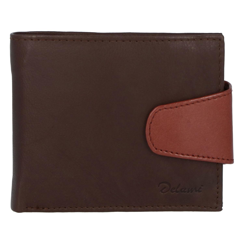 Pánska kožená peňaženka tmavohnedá - Delami 11816