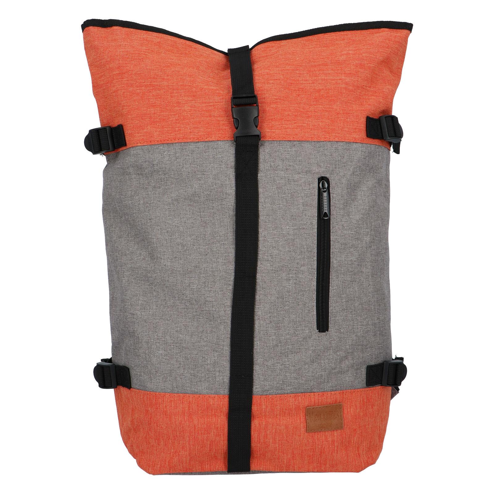 Jedinečný veľký štýlový unisex batoh šedo-oranžová - New Rebels Rebback