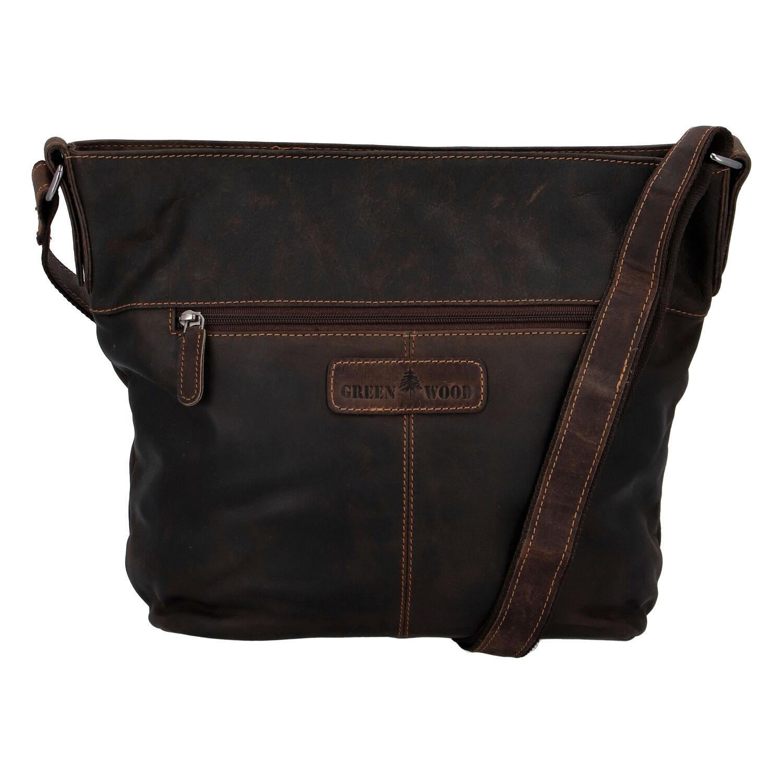 Dámska kožená kabelka cez plece tmavohnedá - Greenwood Fluxis