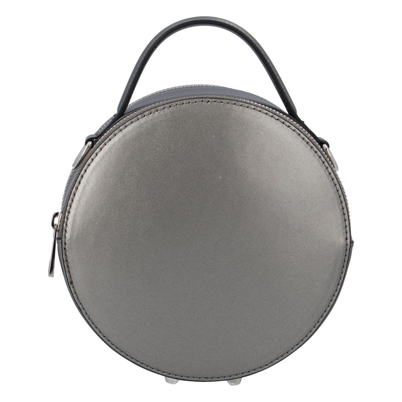 Malá tmavo strieborná elegantná dámska kožená kabelka - ItalY Husna