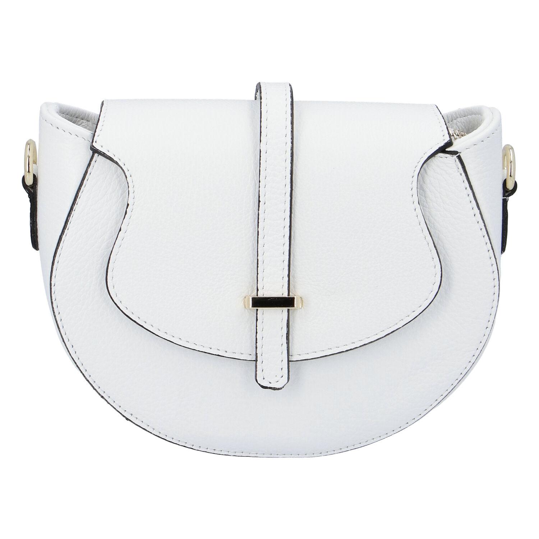 Dámska kožená crossbody kabelka biela - ItalY Blauke