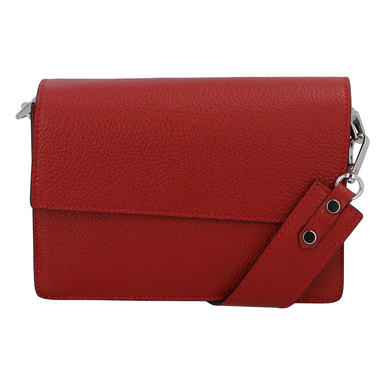 Elegantná kožená kabelka tmavočervená - ItalY Kenesis
