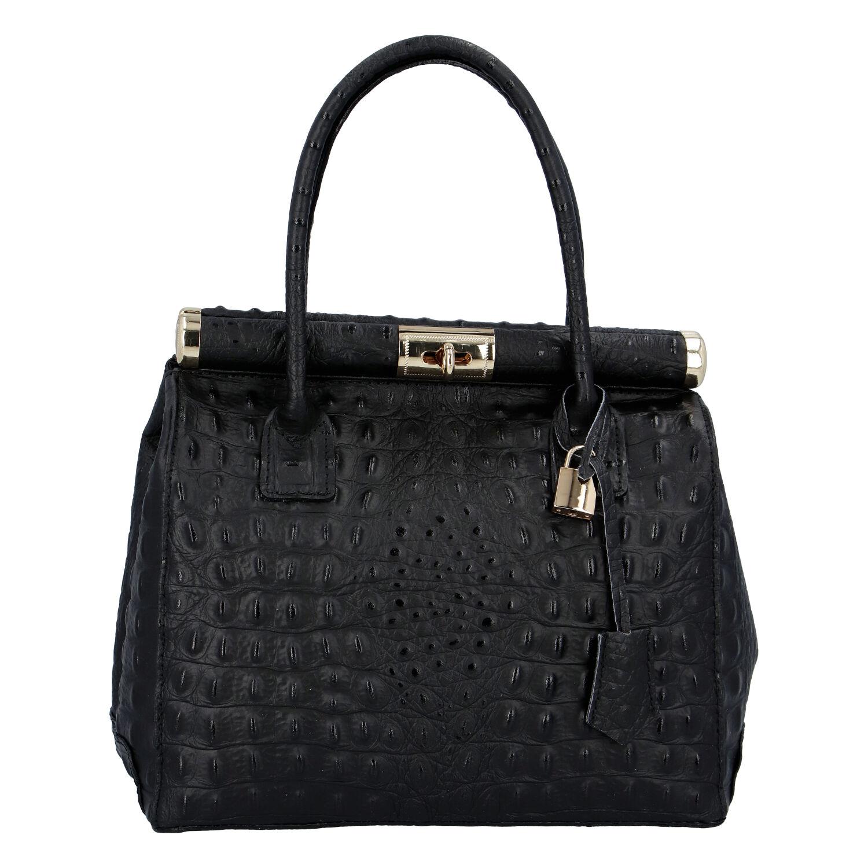 Luxusná dámska kožená kabelka do ruky čierna - ItalY Hyla Kroko