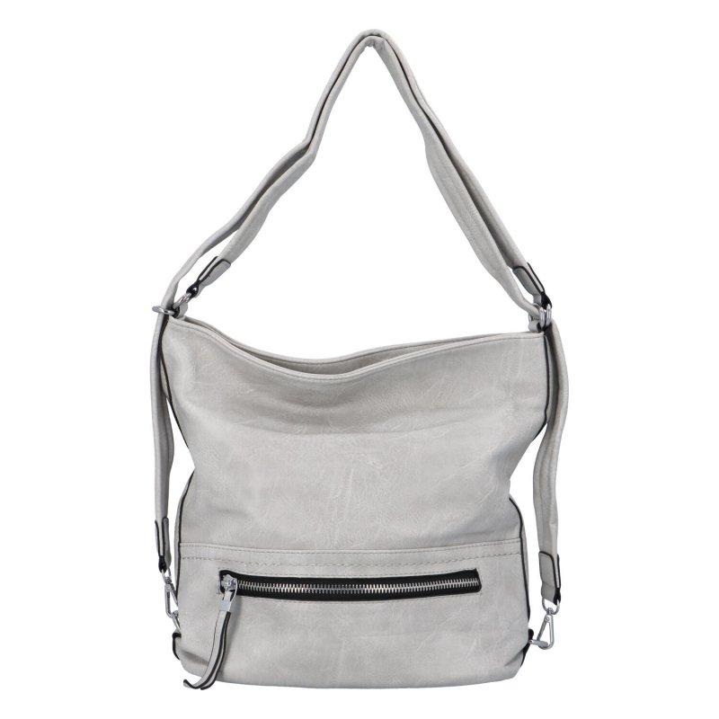 Dámska kabelka batoh svetlo šedá - Romina Nikka