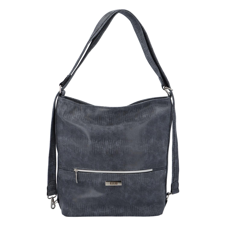 Módna dámska kabelka batoh tmavo modrá so vzorom - Ellis Patrik