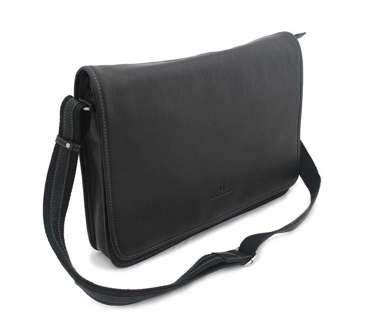 Čierna kožená taška Hexagona 463136