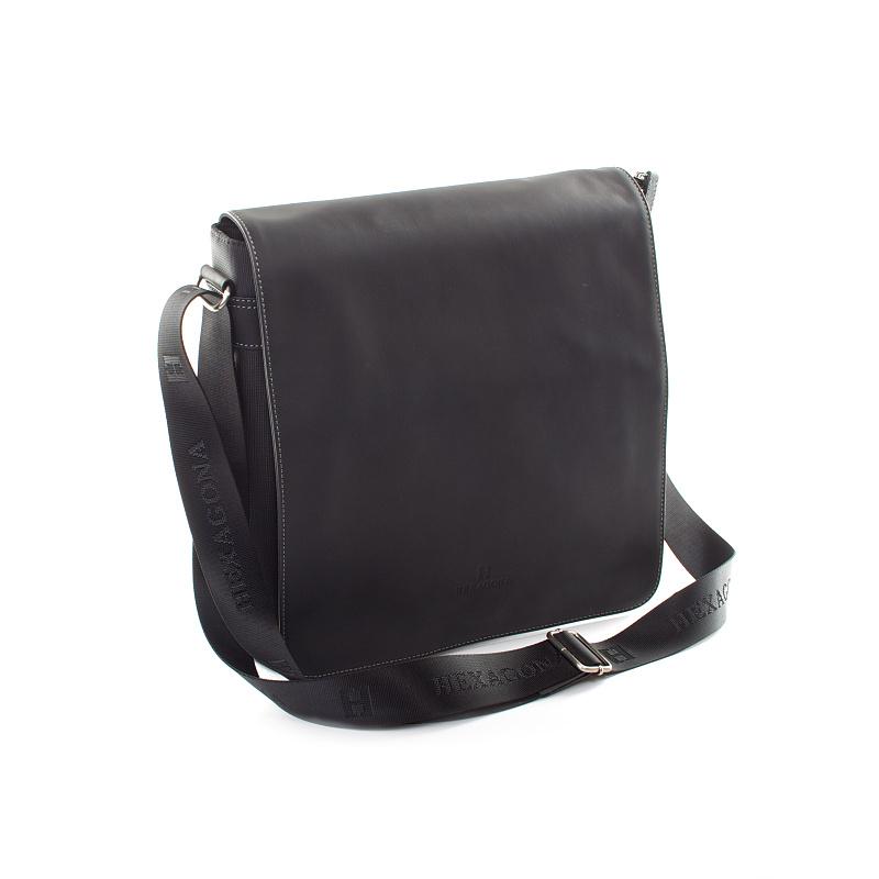 Čierna kožená taška cez rameno Hexagona 299163