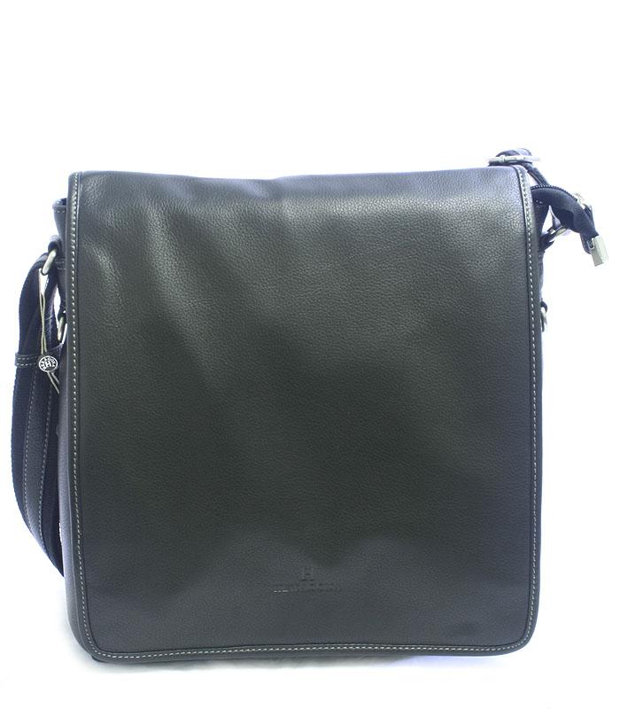 Čierna kožená taška cez plece Hexagona 469563