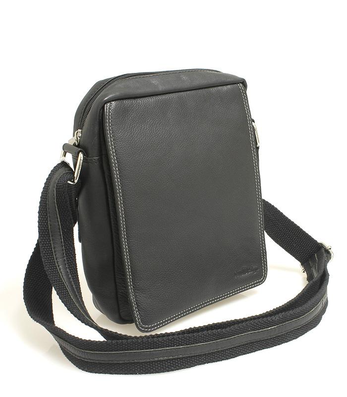 Čierna kožená pánska taška cez rameno 52005