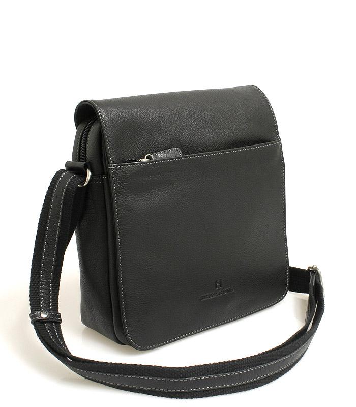 Čierna stredne veľká kožená taška Hexagona 462547