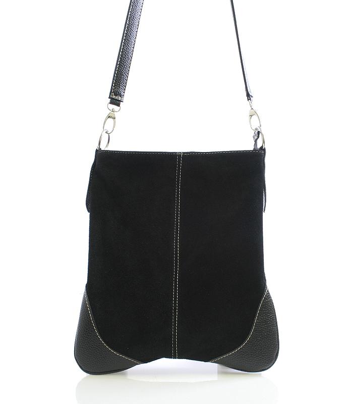 Dámska kabelka čierna kožená crossbody - ItalY 10062