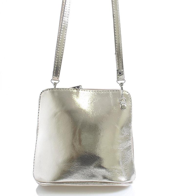 Zlatá dámska kožená kabelka crossbody 10053