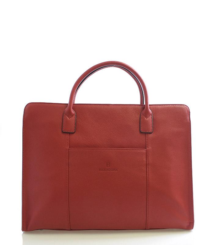 Dámska kabelka červená kožená - Hexagona 462698