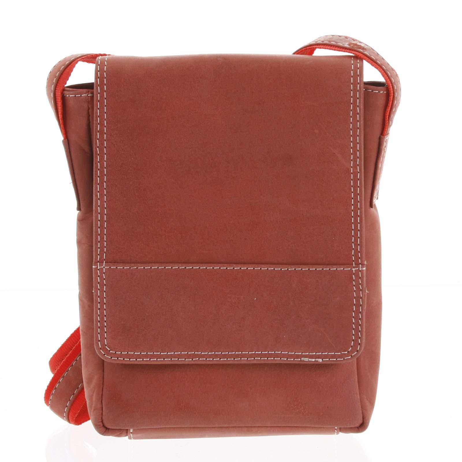 Kožená pánska crossbody taška na doklady červená brúsená 0213