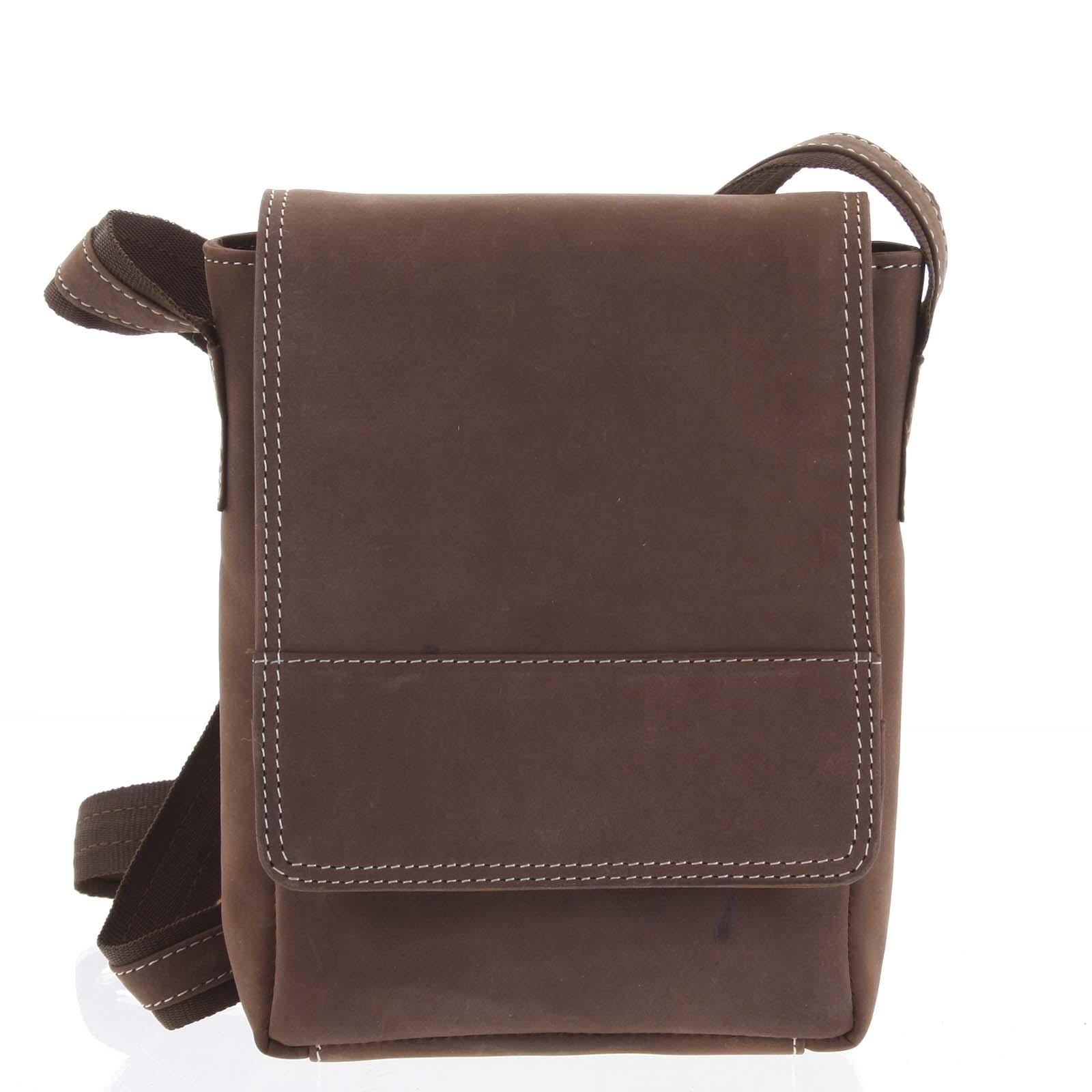 Kožená pánska crossbody taška na doklady hnedá brúsená 0213