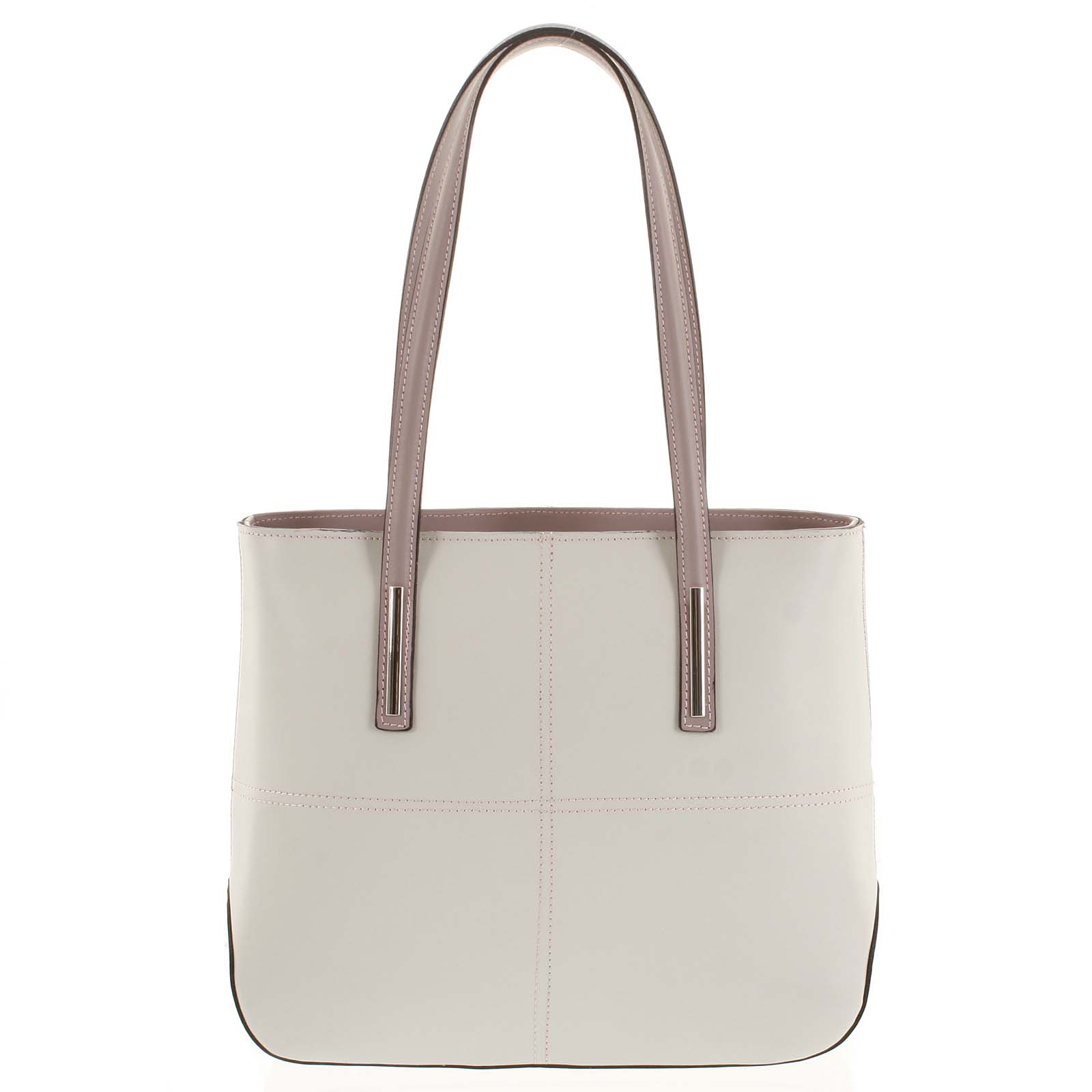 Moderná dámska kožená kabelka béžová - ItalY Adalicia