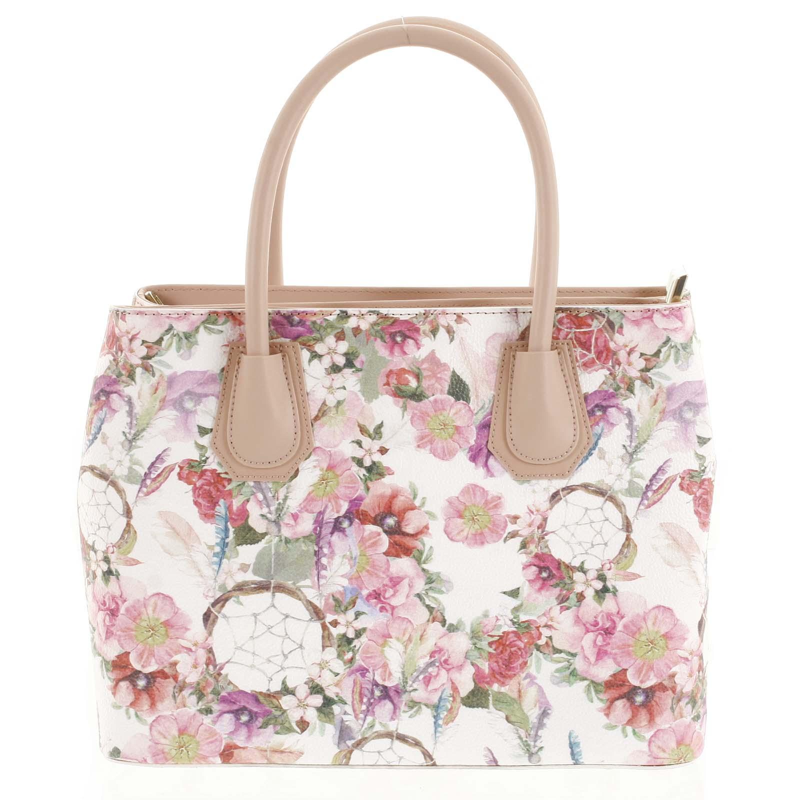 Originálna dámska kožená kabelka ružová - ItalY Mattie Flower