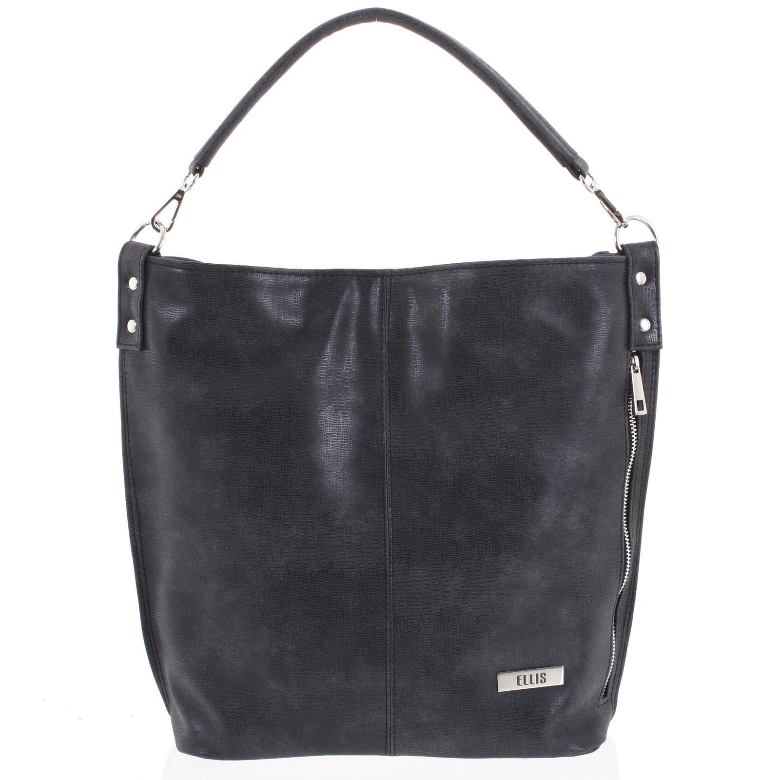 Elegantná dámska kabelka cez rameno tmavo šedá so vzorom - Ellis Negina