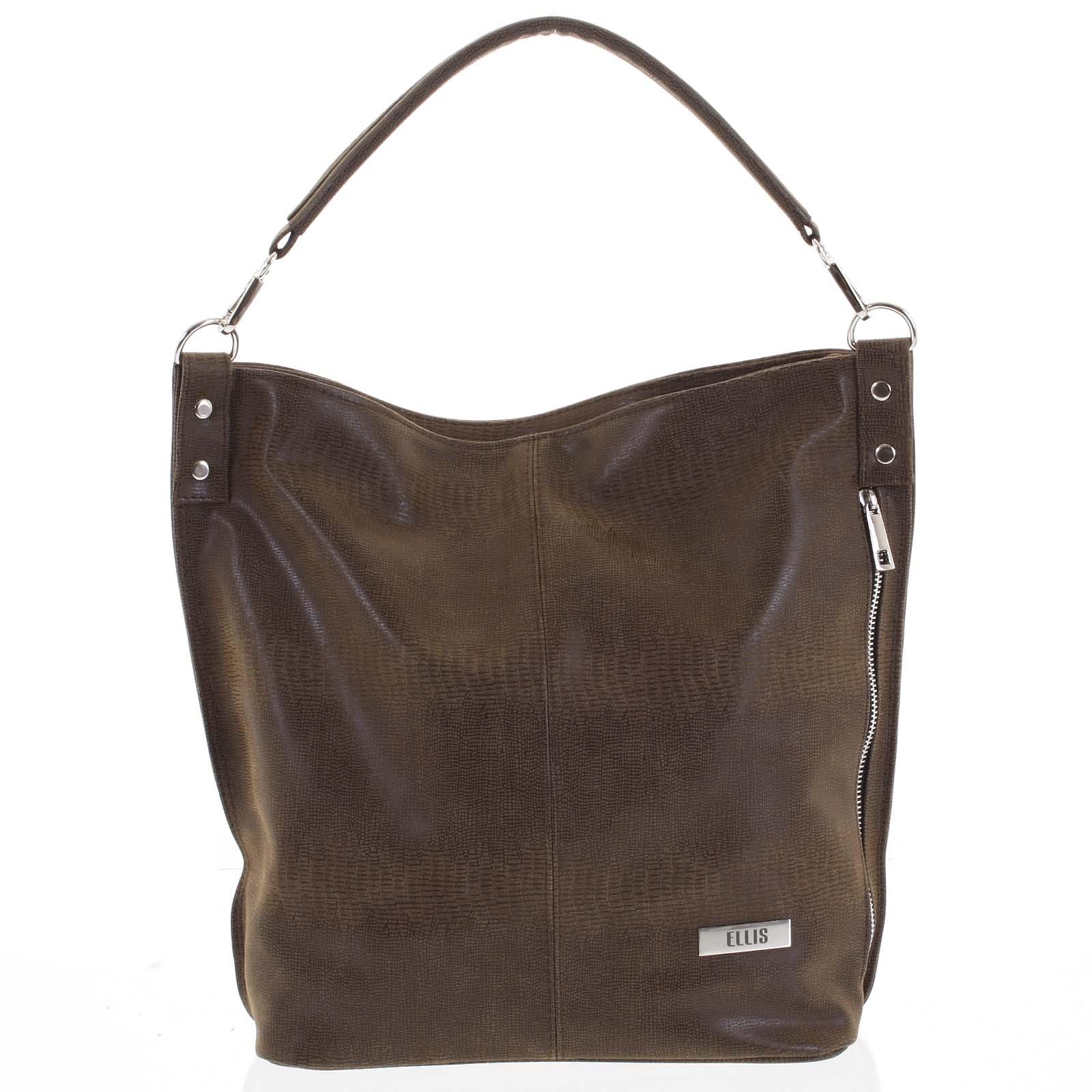 Elegantná dámska kabelka cez plece hnedá so vzorom - Ellis Negina