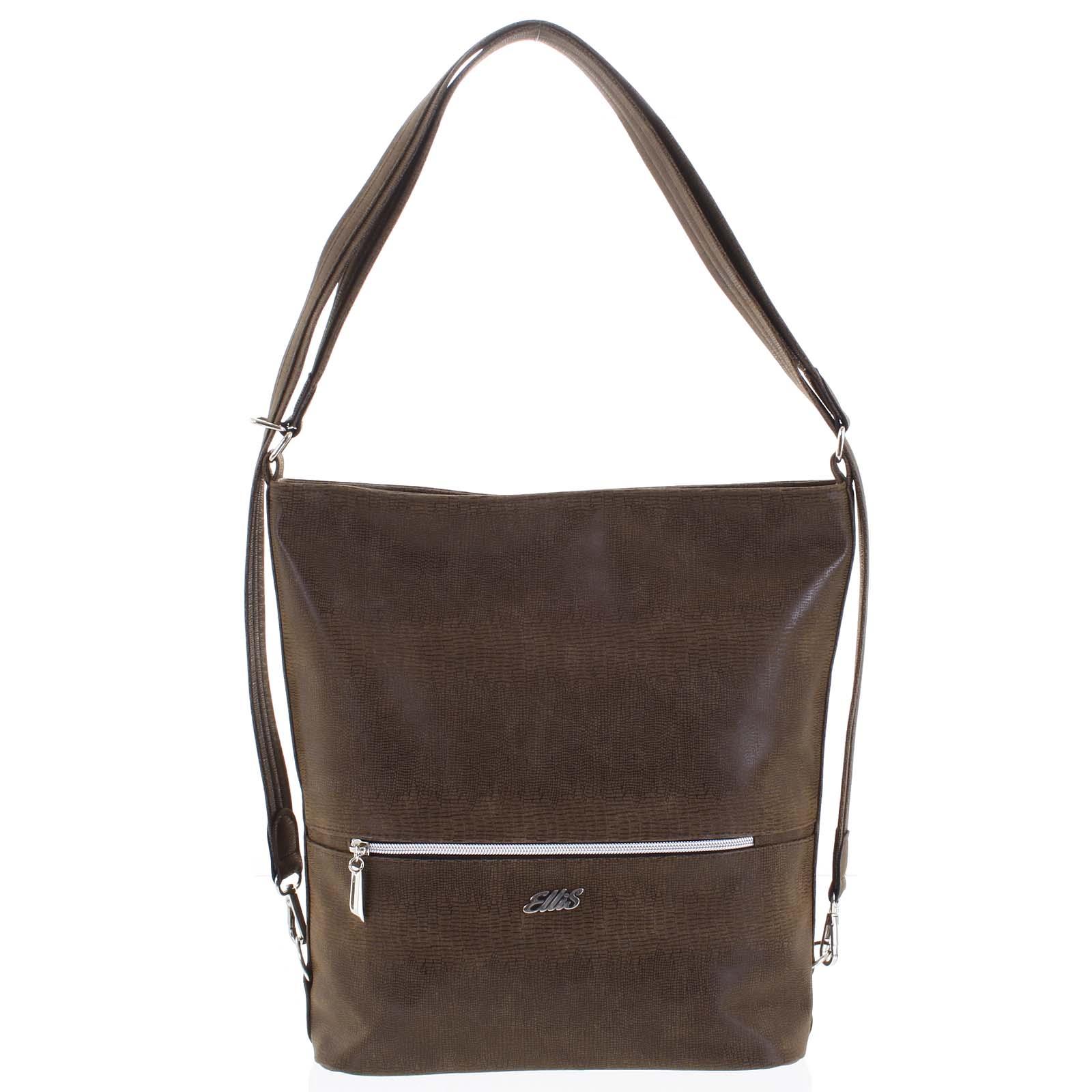 Módna dámska kabelka batoh hnedá so vzorom - Ellis Patrik