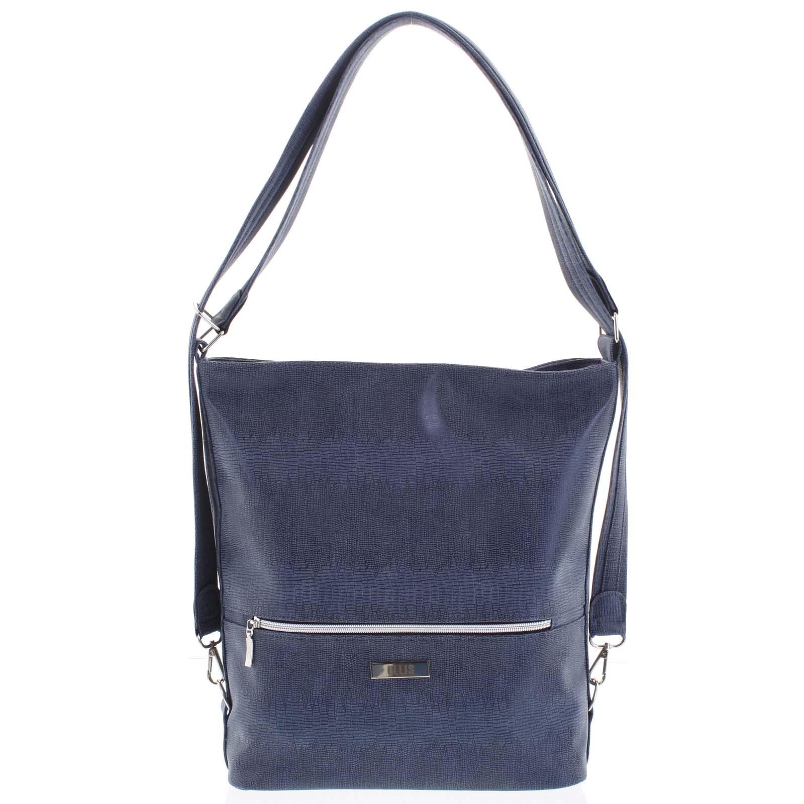 Módna dámska kabelka batoh modrá so vzorom - Ellis Patrik