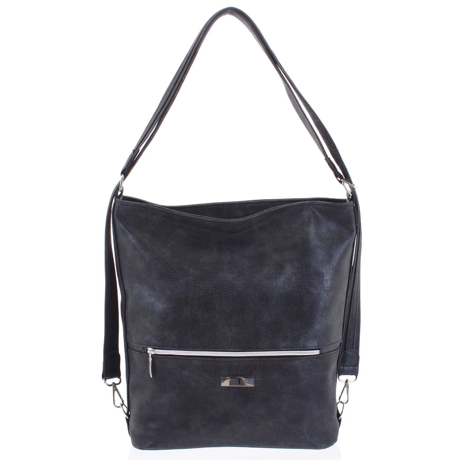 Módna dámska kabelka batoh tmavo šedá so vzorom - Ellis Patrik