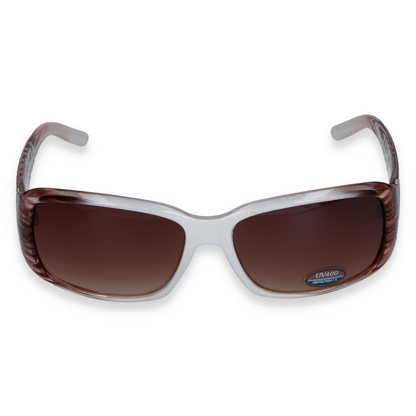 Dámske slnečné okuliare bielo hnedé - SM08