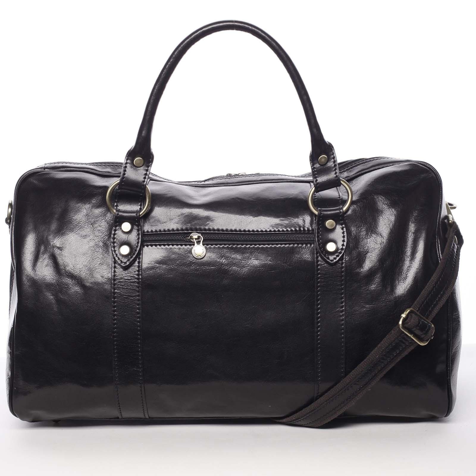 Veľká cestovná kožená taška čierna - ItalY Equado