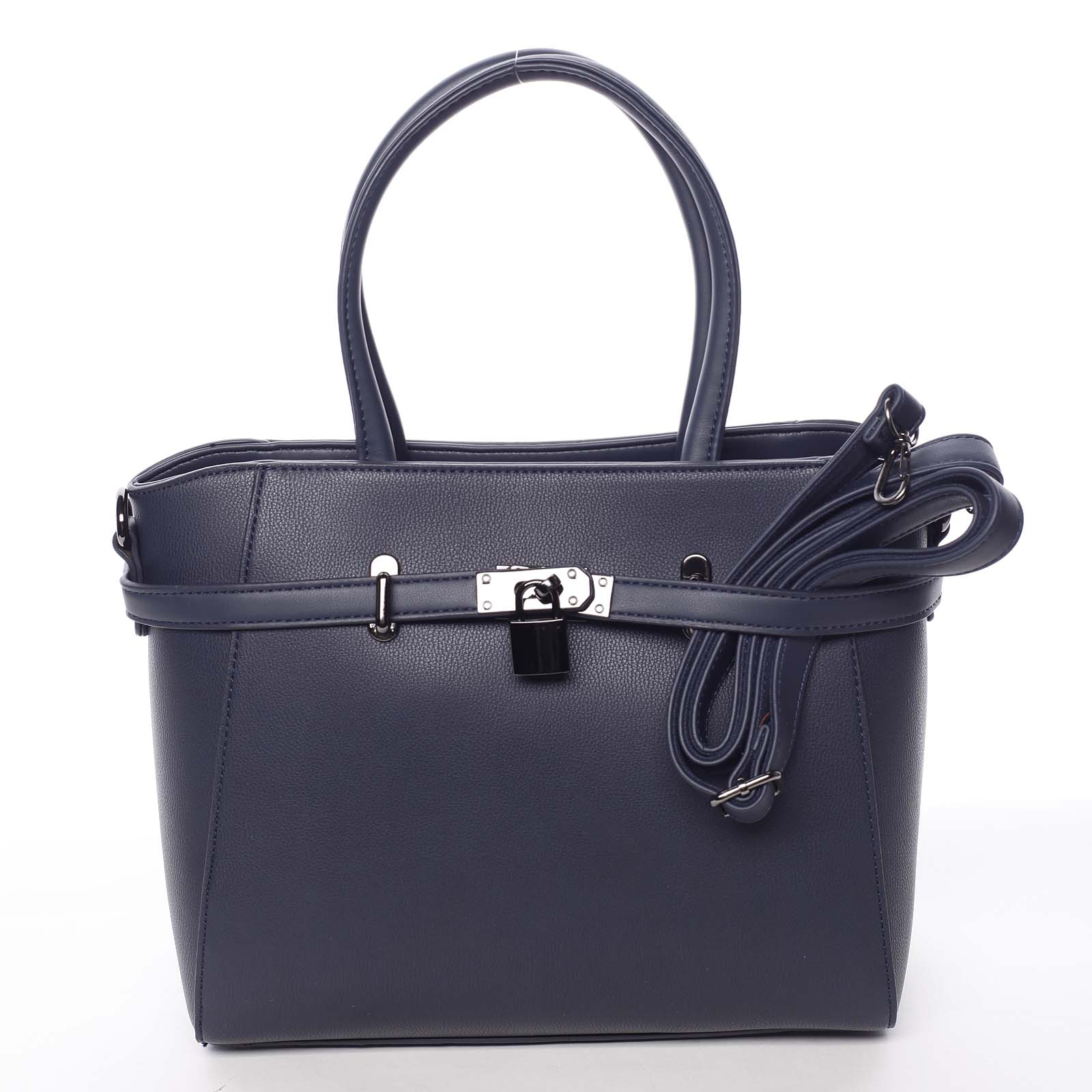 Luxusná štýlová menšia tmavomodrá kabelka do ruky - David Jones Haless