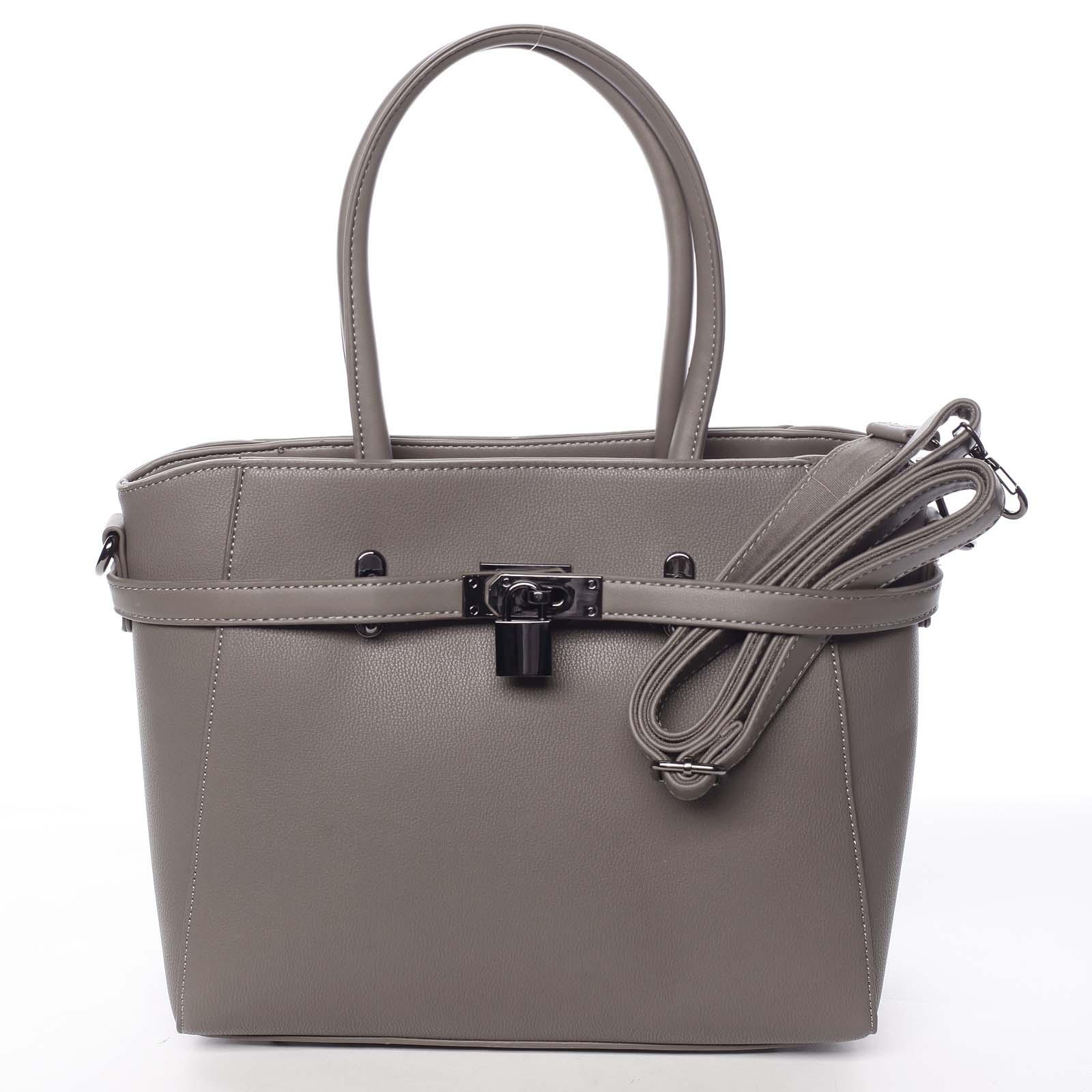 Luxusná štýlová menšia tmavá taupe kabelka do ruky - David Jones Haless