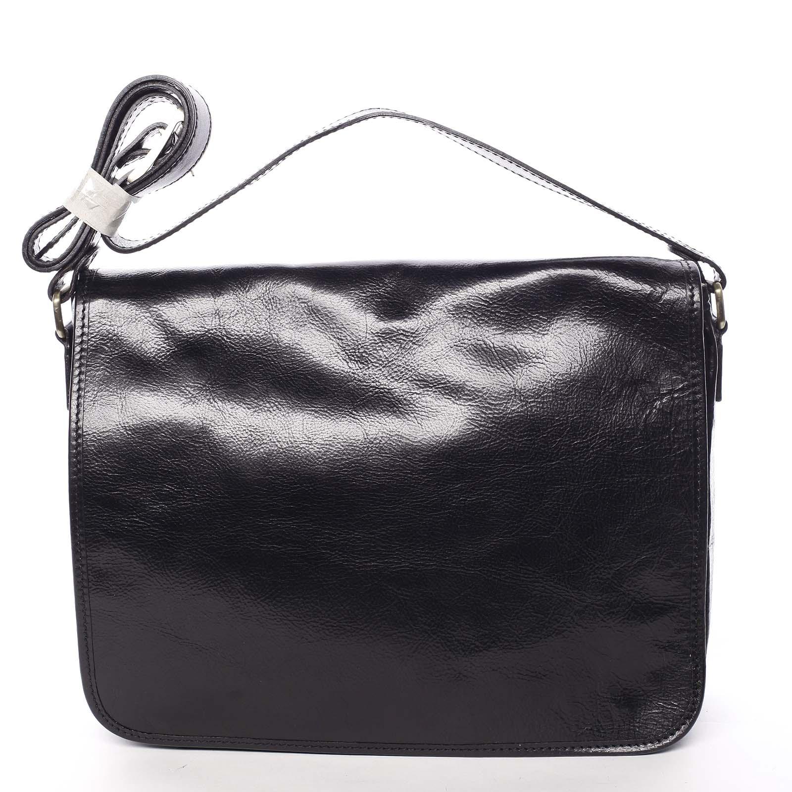 Väčšia pracovná kožená taška čierna - ItalY Equado Achilles