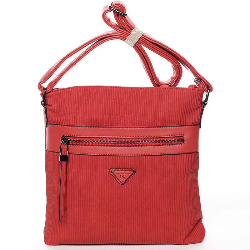 Trendy vrúbkovaná crossbody kabelka červená - Delami Raelyn