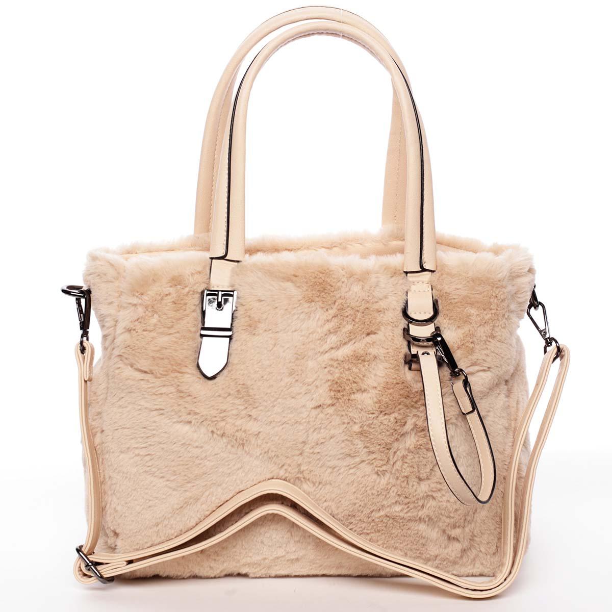 Exkluzívny kožušinová kabelka do ruky marhuľová - MARIA C Zoey