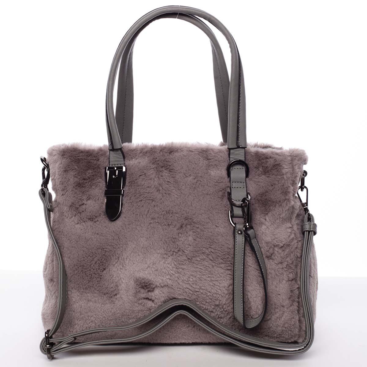 Exkluzívny kožušinová kabelka do ruky sivá - MARIA C Zoey