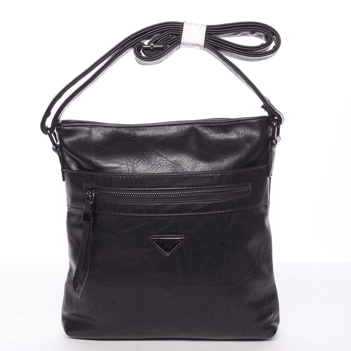 Trendy mäkká crossbody kabelka čierna - Delami Devyn