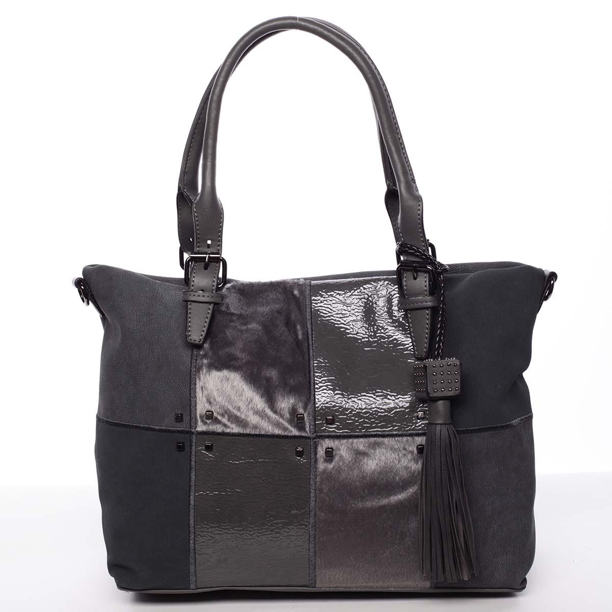 Jedinečná väčšia dámska kabelka siváá - MARIA C Riley