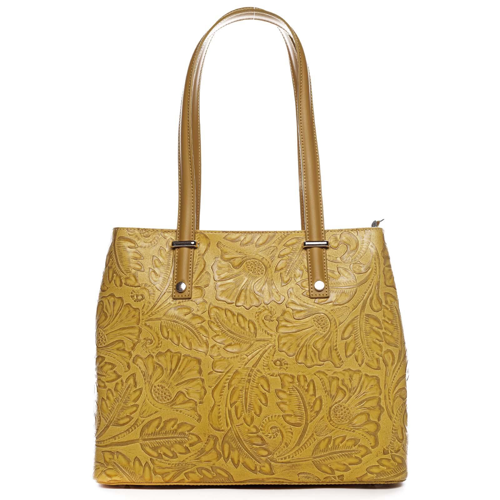 Exkluzívna dámska kožená kabelka žltá - ItalY Logistilla