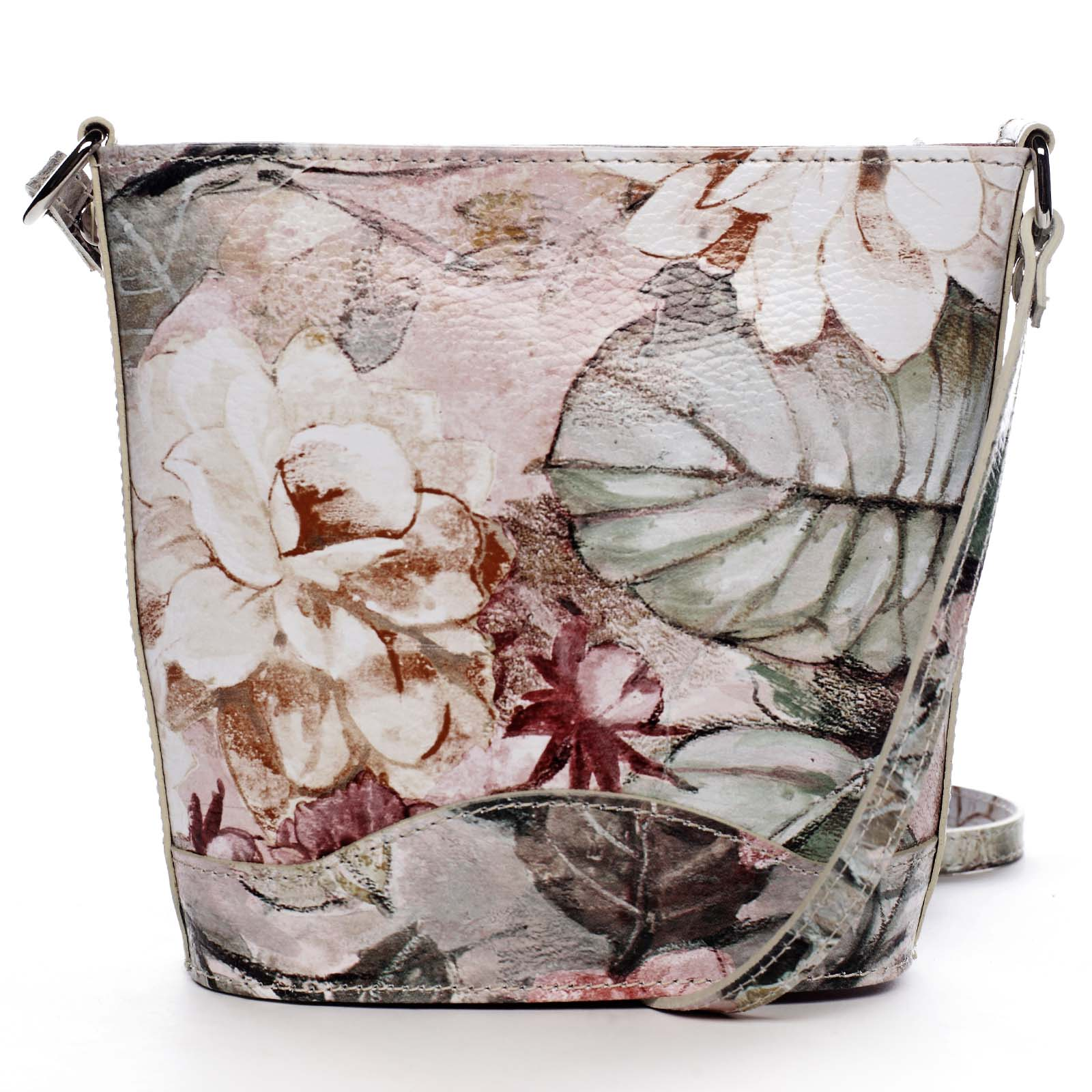 Taupe kožená crossbody kabelka - ItalY Bryana Flower