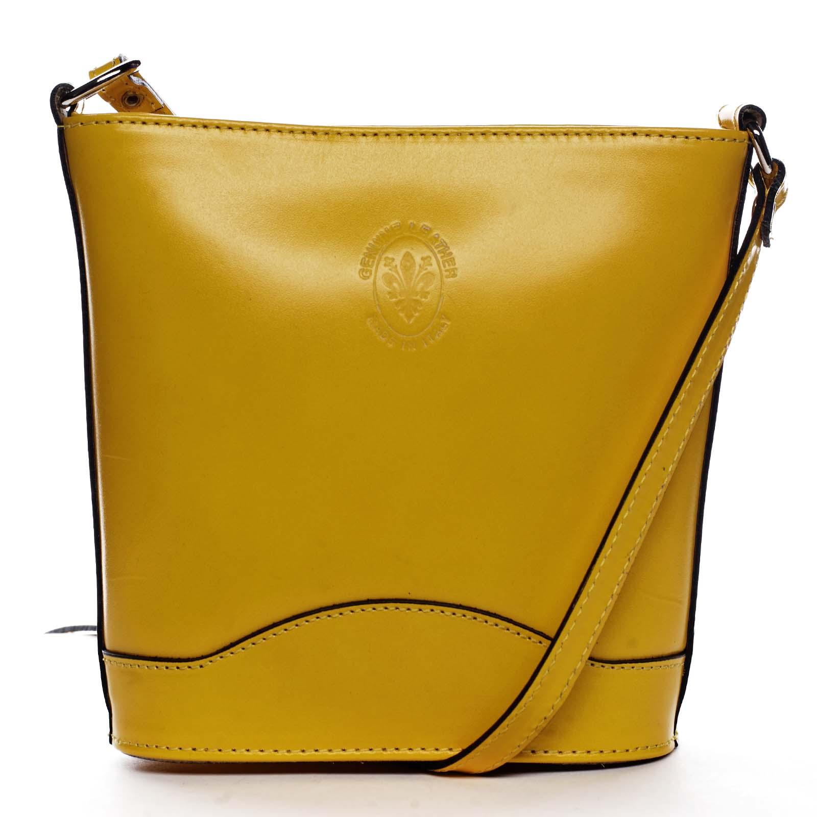 Žltá kožená crossbody kabelka - ItalY Bryana Dark