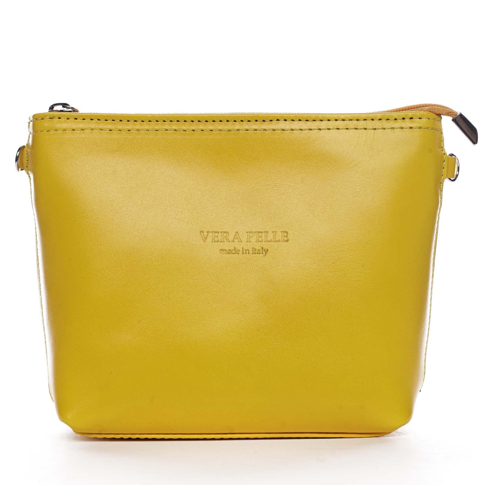 Dámska kožená crossbody kabelka žltá - ItalY Garnet