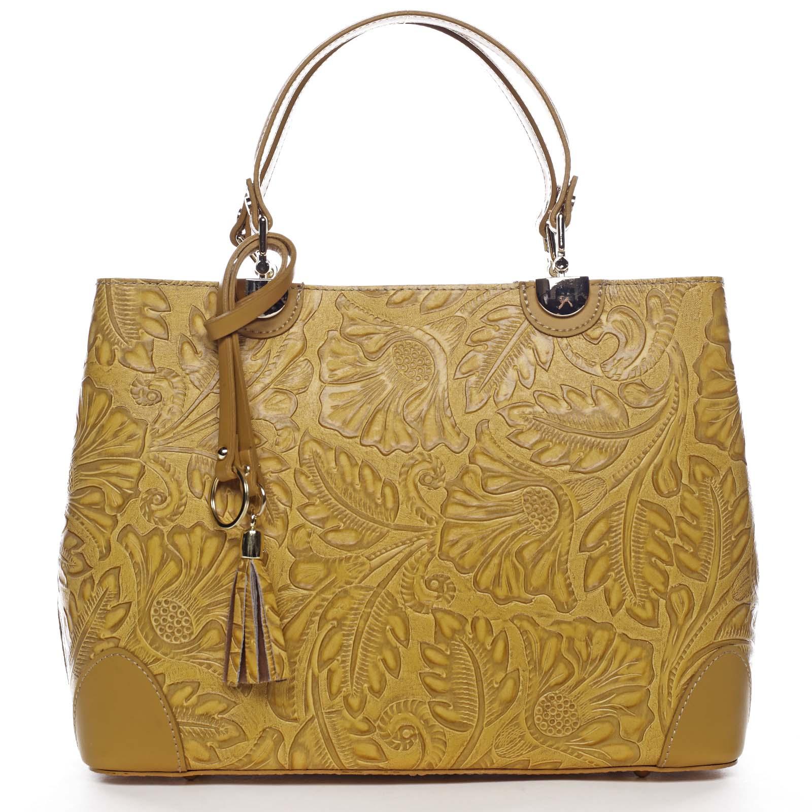 Originálna dámska kožená kabelka tmavo žltá - ItalY Mattie