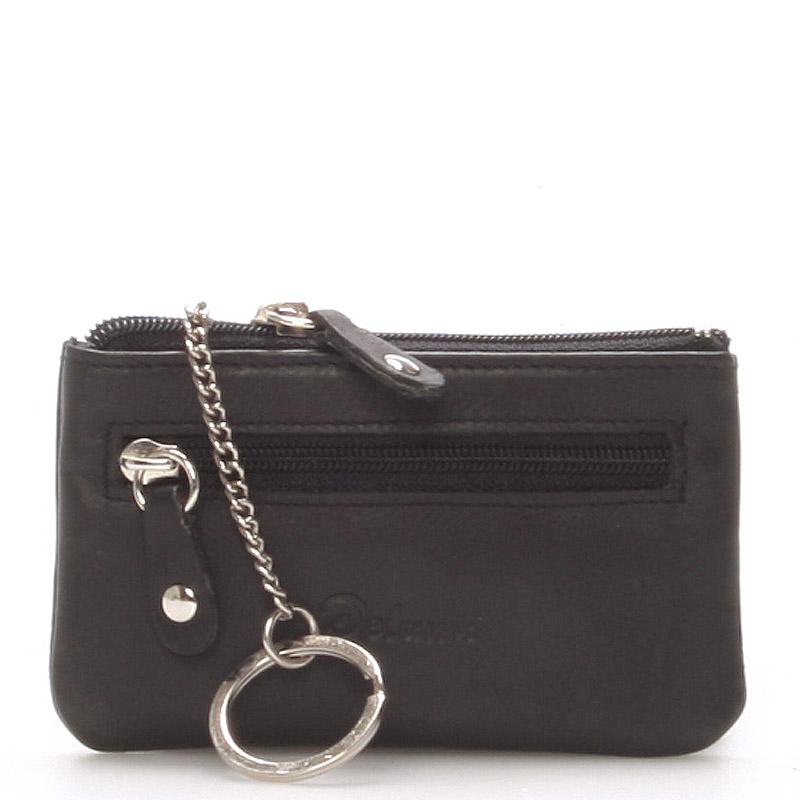 Malá kožená kľúčenka čierna - Delami 9946