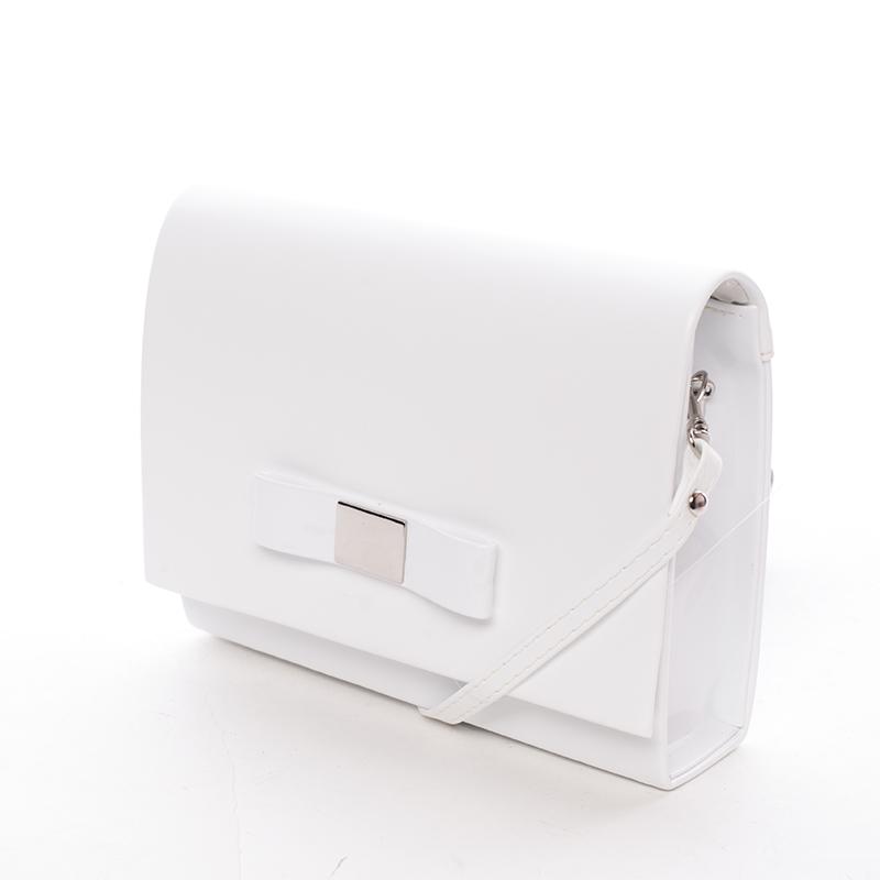 Luxusné dámske listová kabelka biela lesklá - Delami Chicago Fresno