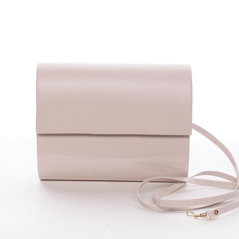 Stredná dámska elegantná listová kabelka púdrová lesklá - Delami Sandiego